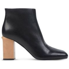 Marni Wood Block Heel Boot ($920) ❤ liked on Polyvore featuring shoes, boots, ankle booties, black, black ankle boots, black zipper booties, short black boots, black zipper boots and black bootie