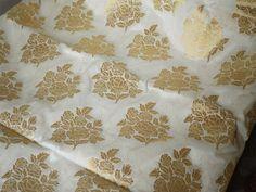 Cream and Gold Floral Pattern Weaving Brocade Fabric - Indian Silk, Wedding Dress Fabric - Pure Banarasi Silk Fabric by Yard