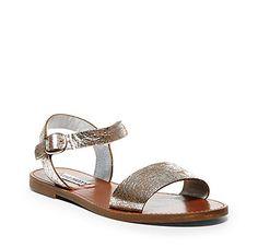 Silver & Black Flat Leather Sandals | Steve Madden DONDDI