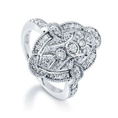 BERRICLE Sterling Silver 0.59 ct.tw Cubic Zirconia CZ Art Deco Filigree Fashion Right Hand Ring ** Check this awesome product by going to the link at the image.