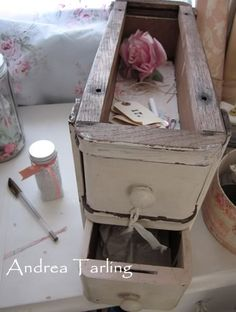 I have these exact drawers.  Love them painted white ! (from Vintage Bella Studio)
