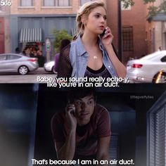 "Hanna Marin and Caleb Rivers quote ""That's because I am in an air duct."" PLL #Haleb Pretty Little Liars Quotes, Pretty Little Liers, Pretty Little Liars Hanna, Pretty Little Liars Theories, Pll Quotes, Pll Memes, Ashley Benson, Tyler Blackburn, Hanna Marin Quotes"