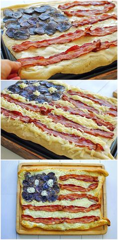 Bacon Flag Pizza #4thofJuly I know. Way does this have to do with dogs it is food! Well do you know a Corgi????