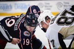 Ryan Johansen and Sidney Crosby face-off in Nationwide Arena. #CBJ #Hockey #NHL