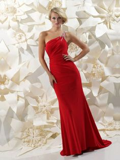 Sheath/Column One Shoulder Chiffon Floor-length Beading Evening Dresses