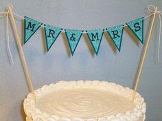 Wedding Cake Topper Banner Mr & Mrs Garland by BethsBannerBoutique, $9.50