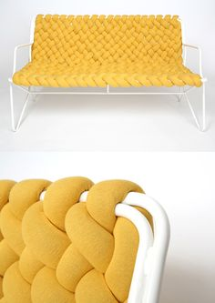 I think we could easily make something like this by cutting up an old sweater sewing into long tubes stuffing it then weaving the peices🤔 – Artofit Recycled Furniture, Metal Furniture, Diy Furniture, Furniture Design, Crafts To Sell, Diy And Crafts, Deco Boheme Chic, Knot Pillow, Ideias Diy