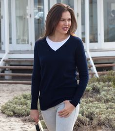 Cashmere & Merino V-Neck Sweater, $50 Woolovers Australia (various colours)