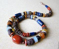 Купить ожерелье БЕРЕГОВАЯ ЛИНИЯ ( лазурит , яшма , янтарь ) - комбинированный, украшение на шею