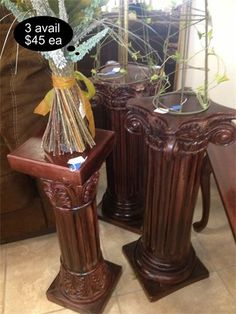 3 available - perfect to accent your entry or that hard to fit corner. These cherry plaster display pedestals add a touch of rustic flare to your decor.    Yesterdays Treasure Consignment  5829 Lone Tree Way Suite J  Antioch, CA 94531  925.233.4547  www.Yesterdayststore.com  Info@yesterdayststore.com