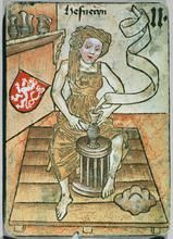 Image of a woman potter, dated 1455, from a medieval game in the Kunsthistorisches Museum, Vienna.  The game is structured into four armorial colours (Bohemia, Holy Roman Empire, France, Hungary) ...