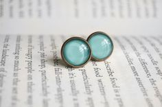 Blue Mint Julep - Antiqued Brass Post Earrings.