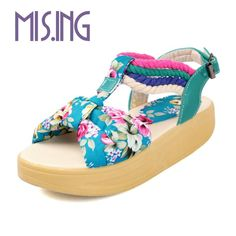 Hot sales Bohemia style women shoes fashion flowers Buckle Strap women shoes Sweet style flat Casual summer shoes