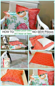 No Sew Pillow Cover in 1 hour or less Tutorial by Fresh Idea Studio, no sew pillow cushions screen porch DIY MA MAISON, DIY screen porch, DIY pillows DIY cushions, Creation Deco, Creation Couture, Sewing Pillows, Diy Pillows, Pillow Ideas, No Sew Cushions, Recover Pillows, Patio Cushions, Decorative Pillows