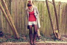 tights and short shorts w/ boots. cute!