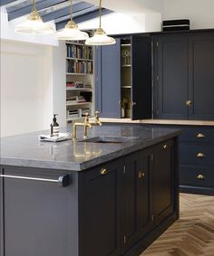 belgian blue limestone counters in devol kitchen