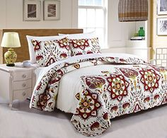 DaDa Bedding Collection Casablanca Elegant Bohemian Quilted Coverlet Bedspread Set - Bright Vibrant Floral Paisley Multi Colorful White & Red - Cal King - 3-Pieces.