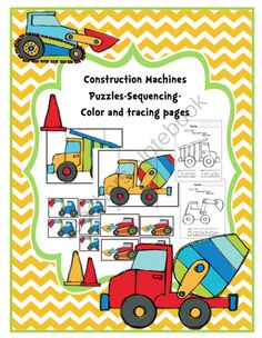 Construction Machine Puzzles from Preschool Printables on TeachersNotebook.com -  (20 pages)  - Puzzles-Sequencing-Coloring and Tracing