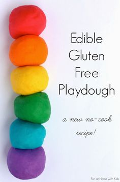 {NEW recipe} Super soft Edible Gluten Free Playdough - no cook and ready in under three minutes! Safe for babies and toddlers and anyone who is gluten-free! From Fun at Home with Kids (since my kids will be eating playdough? Baby Sensory, Sensory Activities, Infant Activities, Activities For Kids, Sensory Play For Babies, Activities For Babies Under One, Edible Sensory Play, Diy Sensory Toys, Indoor Activities