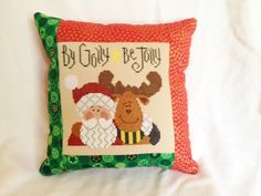 Lizzie Kate  Christmas Cross Stitch Pillow  By by homecrafting, $22.50