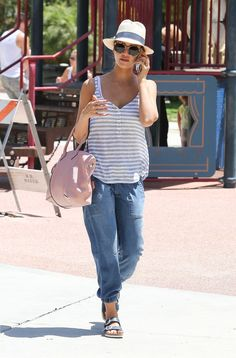 Jessica Alba in Navy Birkenstocks