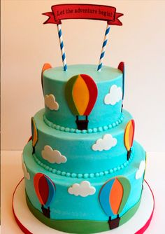 Buttercream w fondant decor. Baby Shower Balloons, Birthday Balloons, Baby Shower Cakes, Fondant Cakes, Cupcake Cakes, Hot Air Balloon Cake, Carnival Birthday Parties, Birthday Cake Decorating, Baby Christening