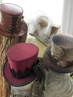 Steampunk Victorian Rockabilly Burlesque Mini top hat topper hatinator - made with your fabrics to match any outfit. $89.00, via Etsy.