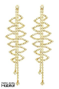 Trickle Leaf Chandelier Earrings - $19.00 at FashionJewelryHabitat.com - #FashionJewelryHabitat #FashionHabitat