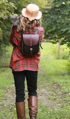 A cute mini leather backpack.