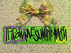 "Ready to Ship ""Throw Me Sumthin Mista"" Mardi Gras Sign. Metal Wall Hanging, Door Hanger, Hand Painted, Purple Green and Gold"