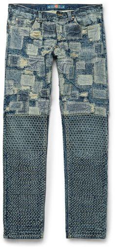 $1,130, Blackmeans Slim Fit Patchwork Washed Denim Jeans. Sold by MR PORTER. Click for more info: https://lookastic.com/men/shop_items/445065/redirect
