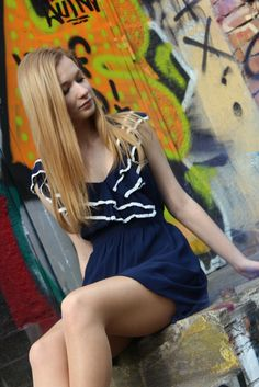 #bluedress #ruffles #white #graffiti #wall #smoke #fashion #girl #blondehair
