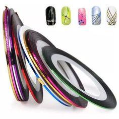 30 rolos de fitas adesivas metalizadas decoradora de unhas!