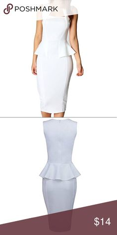 NWOT Bodycon White peplum dress Ordered this for an all white party that I never attended. Never worn, looks just like the pic. Dresses Midi