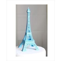 "6"" Blue Paris Eiffel Tower Cake Topper, Madeline, France, Centerpiece,... ($14) ❤ liked on Polyvore featuring overthetopcaketopper"