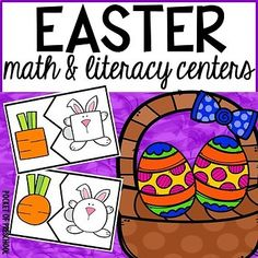 Easter math and literacy centers for preschool, pre-k, and kindergarten. 13 hands on centers to keep students engaged and learning. Prek Literacy, Literacy Skills, Literacy Centers, Learning Centers, Kindergarten Crafts, Preschool Teachers, Math Pages, Easter Activities, Preschool Activities