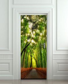 Door wall sticker cover bamboo forest green trees way 30x79""