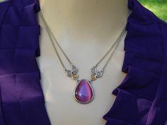 Vintage Pink Glass Teardrop Pendant with 2-Strand Choker Necklace - Visit my Etsy shop: www.etsy.com/shop/AyQueBella