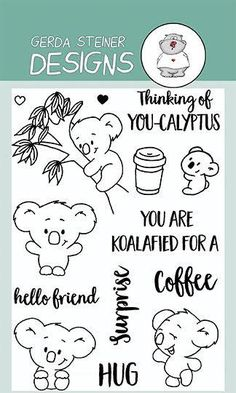 "You're Koalifed to use this Clear Stamp Set. These cute koalas can be used in many different scenes. That coupled with the cute sentiments: ""You are Koalifed for a Surprise"" or ""Thinking of You-ca Embroidery Designs, Hand Embroidery Patterns, Koala Craft, Friends Hugging, Tampons, Doodle Drawings, Coloring Book Pages, E Cards, Digital Stamps"