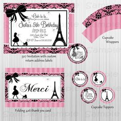 Paris and Poodles Party Printables. Custom, complete with invitations. Have everything you need for your party. Bridal showers, birthdays, or even baby showers