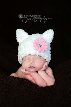 Newborn Baby Girl Hat Kitty Hat Photography Prop Knit Crochet Beanie Infant Girl White Hat Animal.