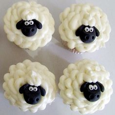 Sheep Cupcakes  What You Need:  Cupcake recipe of your choice*  Buttercream icing*  Piping bag  PME icing tube - No. 16*  75g black regal icing  10g white regal icing  Edible glue  Knife*