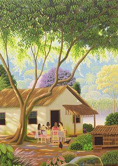 Women Playing Dominos by Edivaldo Barbosa de Souza Painting Photos, Colorful Art, Art Painting, Indian Art Paintings, Art Cube, Oil Painting Landscape, Simple Art, Naive Art, Painting
