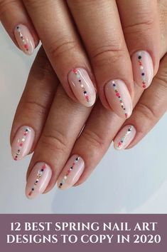 12 Best Spring Nail Art Designs to Copy in 2020 nailart nailartclub nailartaddict nailDesigns Nail Design Glitter, Nail Design Spring, Spring Nail Art, Spring Nails, Summer Nails, Nails Design, Diy Nails, Cute Nails, Pretty Nails