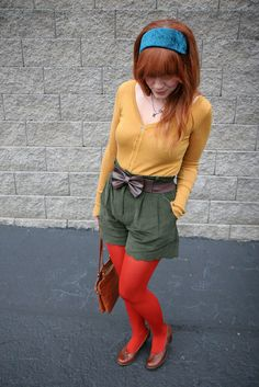 """""""Mustard yellow sweater, green shorts and red tights """" Orange Tights, Red Tights, Shorts With Tights, Geek Chic Outfits, Hot Outfits, Sweater Outfits, Mustard Yellow Sweater, Pretty Hair Color, Mod Girl"""
