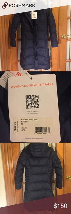"""Patagonia Womens """"Down with it Parka"""" NWT! Get ready for winter with this Brand New! Women's Patagonia size X-Small. 600 fill power duck down. 2 way front zipper, DWR (durable water repellent), and detachable hood. Gorgeous color (hard to capture the color in pics but it's navy blue), light weight, super warm. Paid full price. Please no low ball offers. Patagonia Jackets & Coats Puffers"""