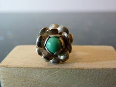 Vintage Silver Flower Ring with Round Green by FourSailAccessories, $14.00