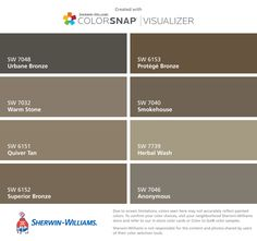 I found these colors with ColorSnap® Visualizer for iPhone by Sherwin-Williams: Urbane Bronze (SW 7048), Warm Stone (SW 7032), Quiver Tan (SW 6151), Superior Bronze (SW 6152), Protégé Bronze (SW 6153), Smokehouse (SW 7040), Herbal Wash (SW 7739), Anonymous (SW 7046).