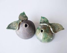 Raku clay singing angels, Set of 2 Raku pottery ceramic art sculpture, shelf decoration, homewares gift, Interior style