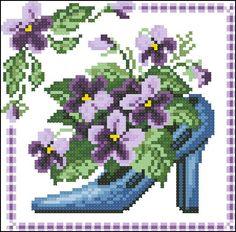 0 point de croix chaussures et fleurs  - cross stitch shoes and flowers 3